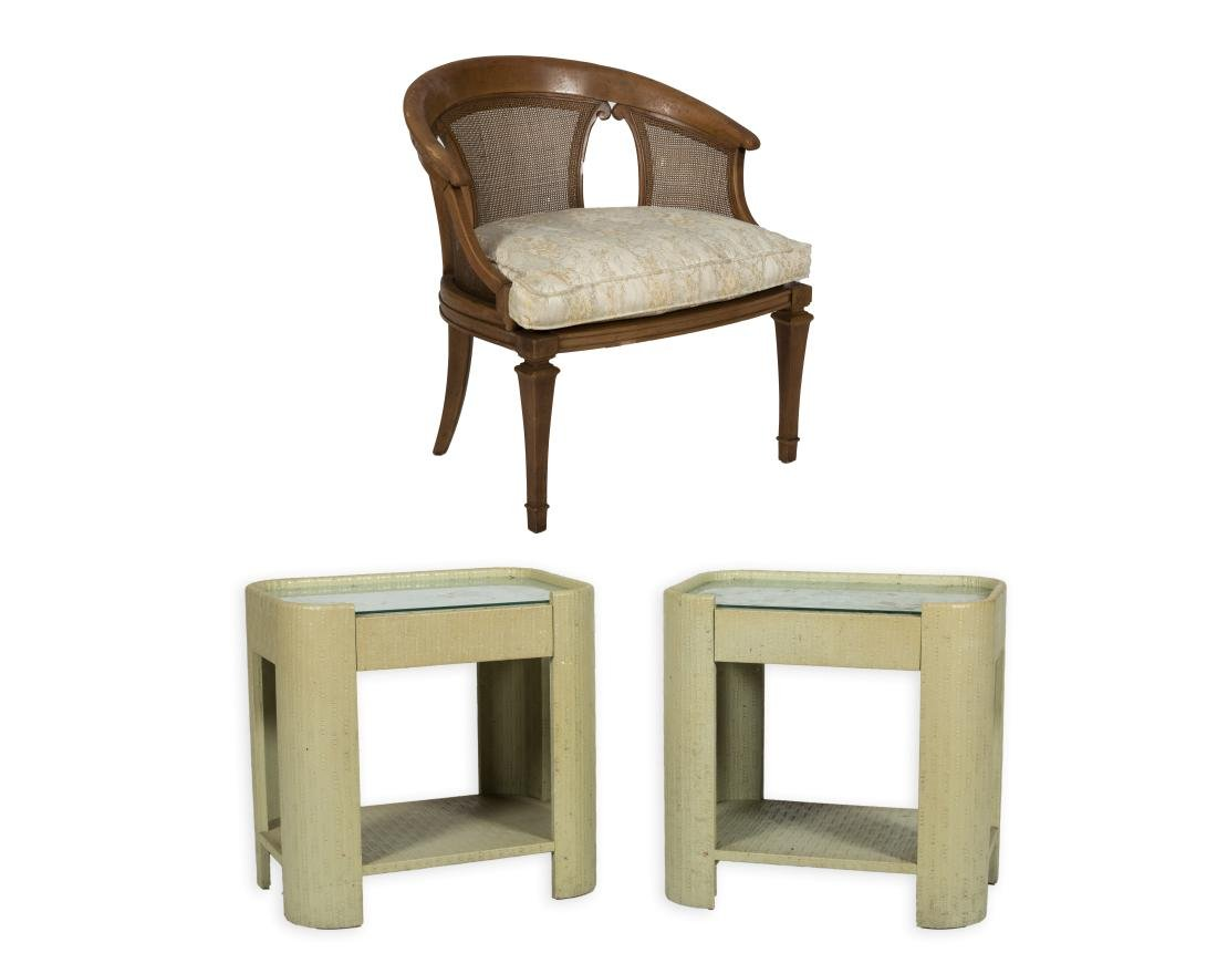 Pair Springer Style End Tables and Chair