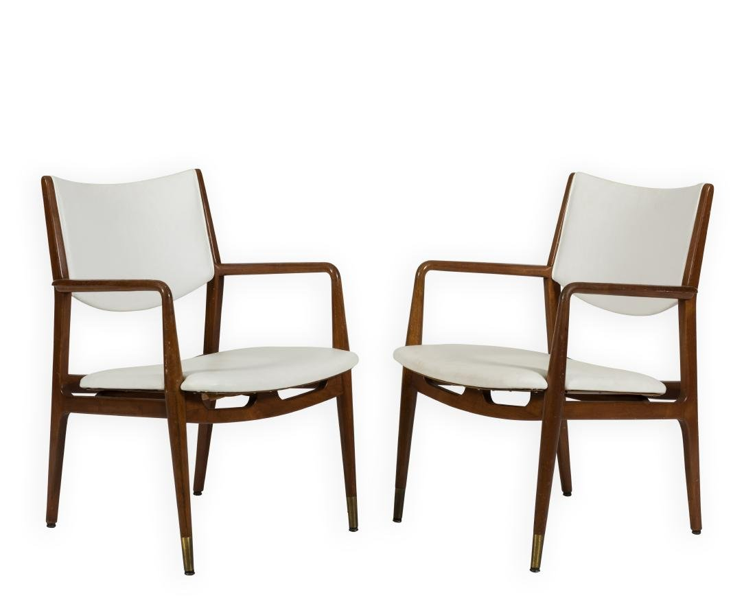Pair Walnut and Leather Arm Chairs