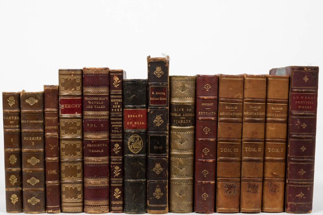 Group Antique Leather Bound Books - Fourteen