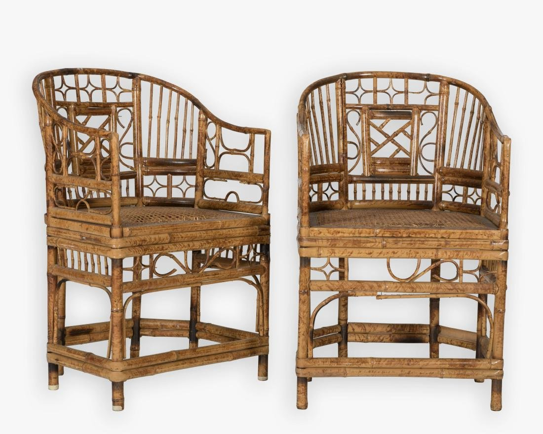 Pair Reed Rattan Barrel Club Chairs