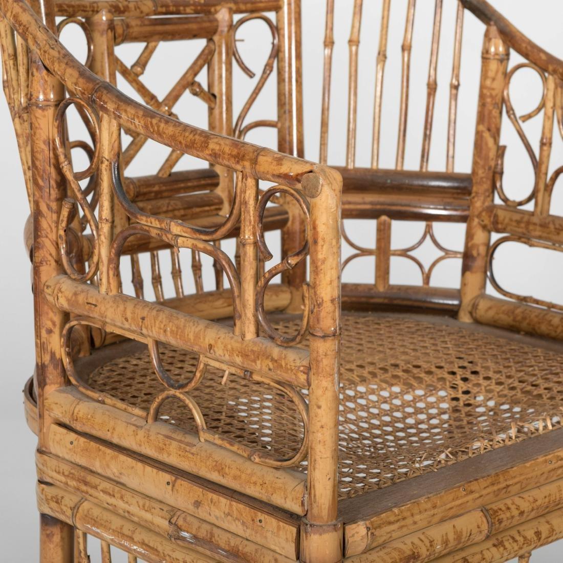 Pair Reed Rattan Barrel Club Chairs - 3