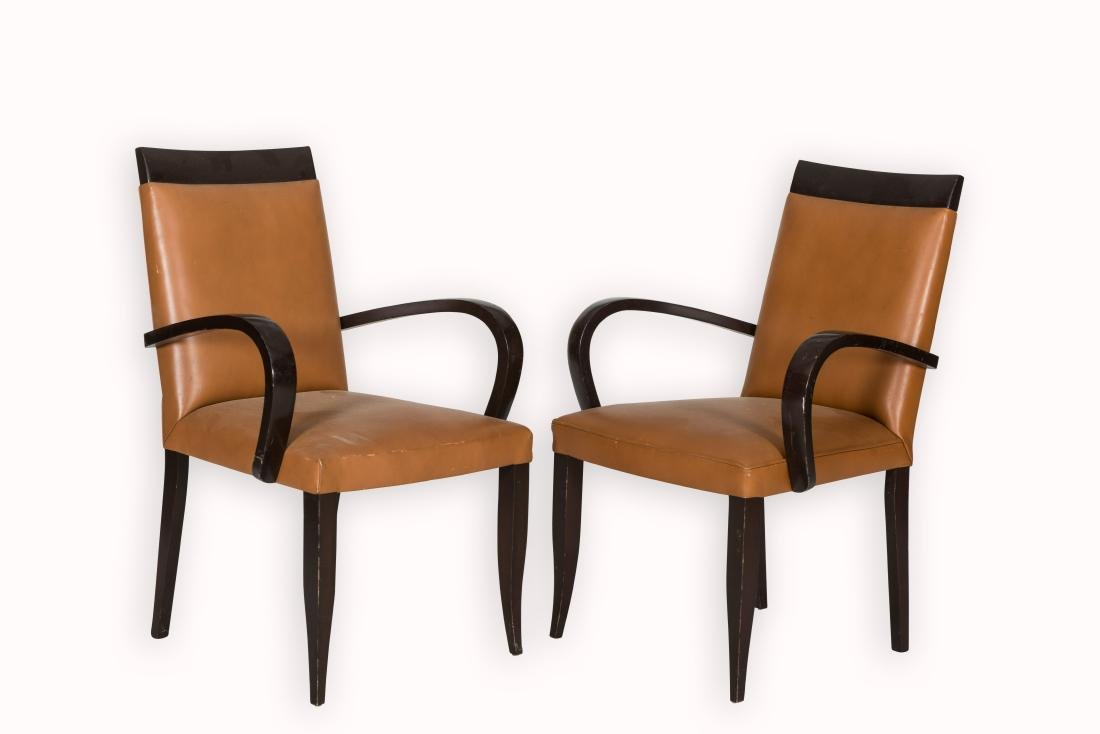 Pair Art Deco Leather Arm Chairs