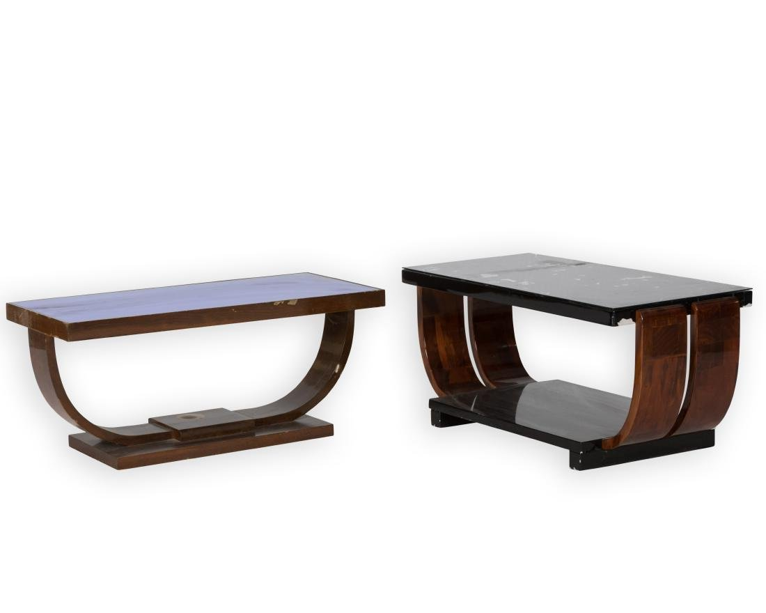Two Glass Top Art Deco End Tables