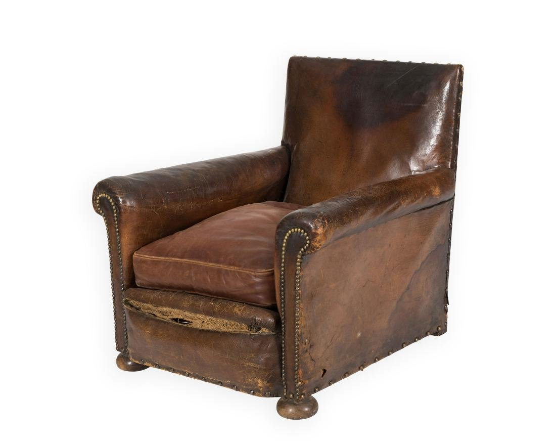 French Deco Leather Library Chair