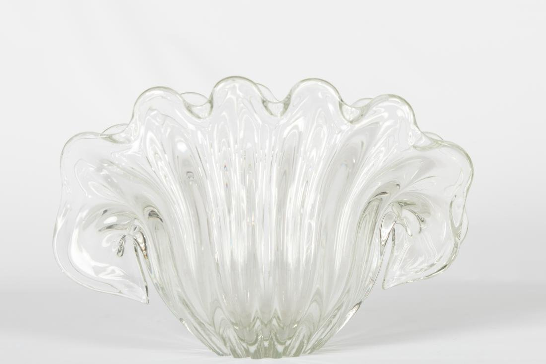 Mid Century Clam Shell Glass Centerpiece
