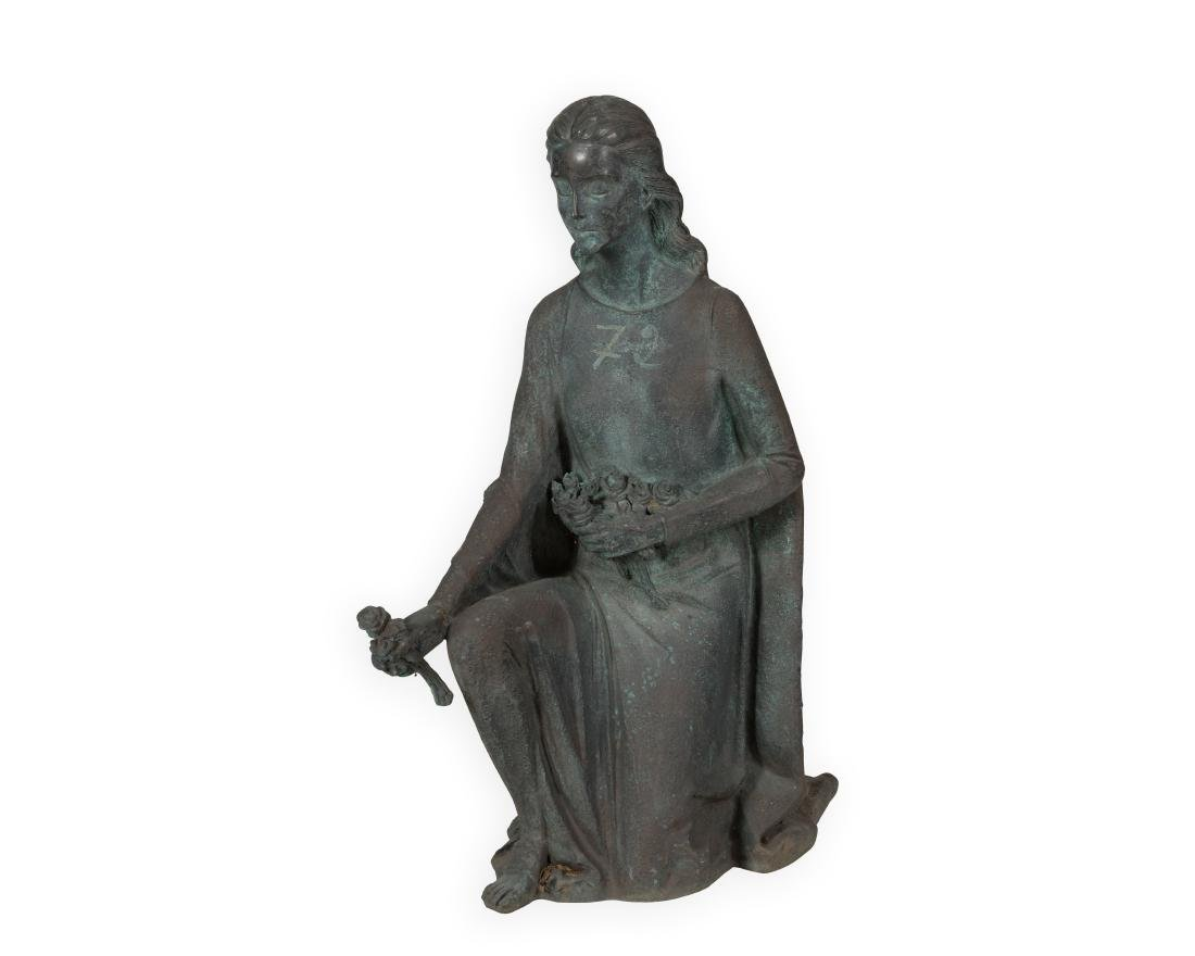Large Bronze Kneeling Woman