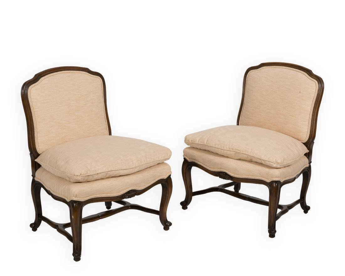 Pair French Slipper Chairs