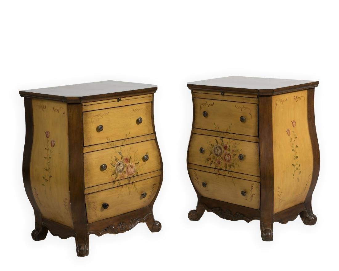 Pair Painted Italian Style Bombay Chests