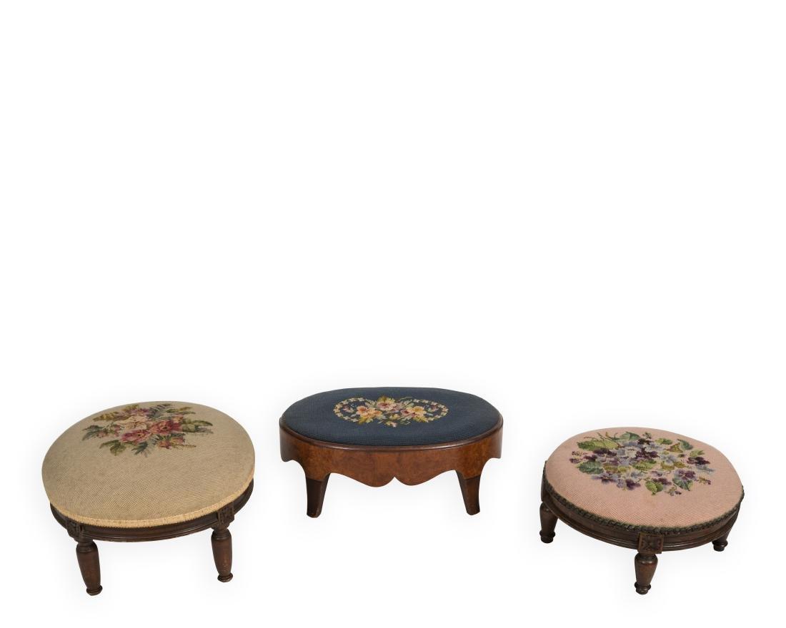 Three Victorian Needlepoint Footstools