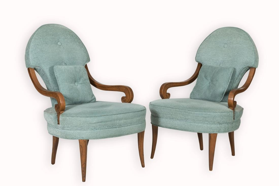 Pair Rolled Arm Chairs