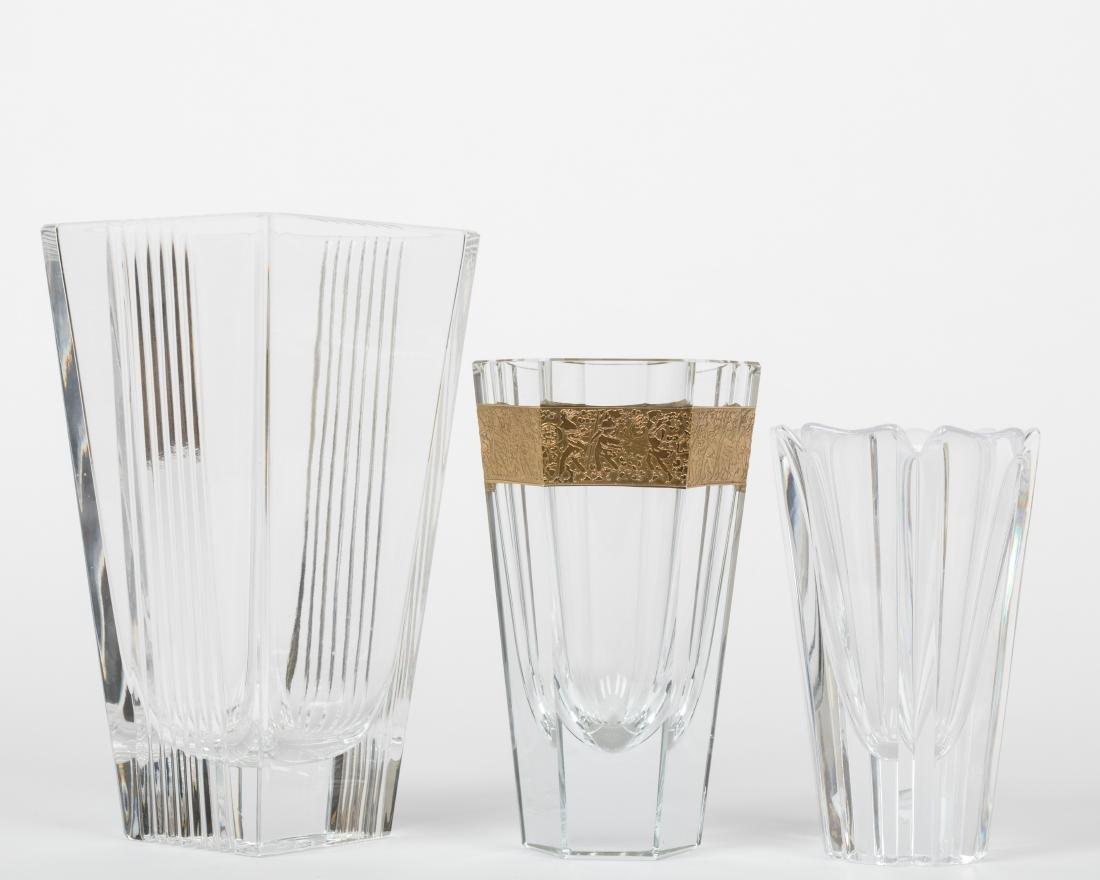 Three Crystal Vases - Moser - Tiffany - Orrefors