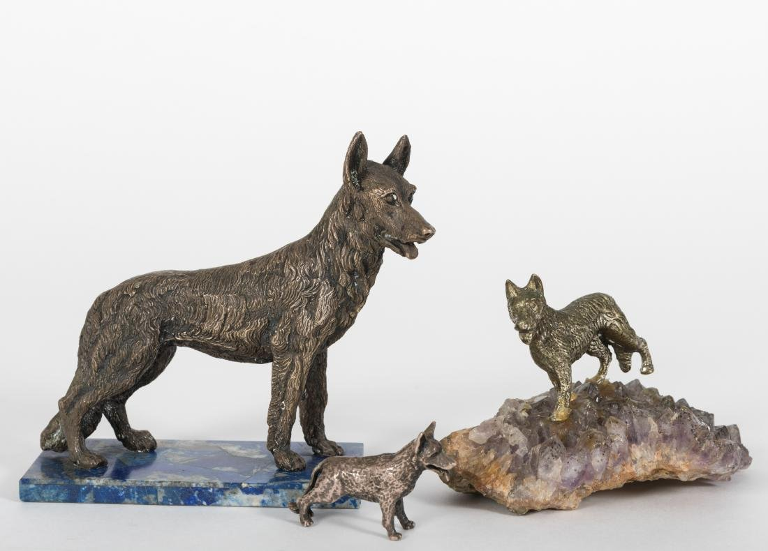Three Silvered Bronze Dogs