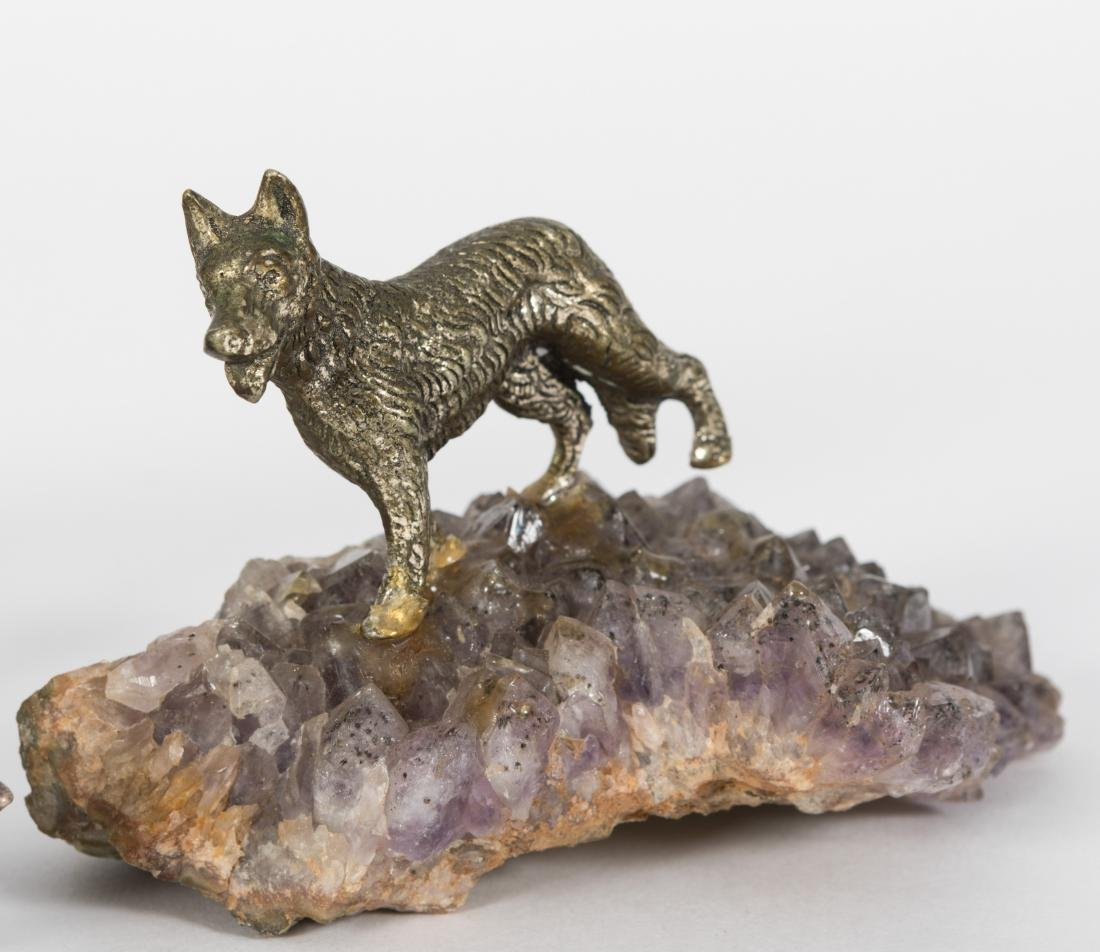 Three Silvered Bronze Dogs - 3