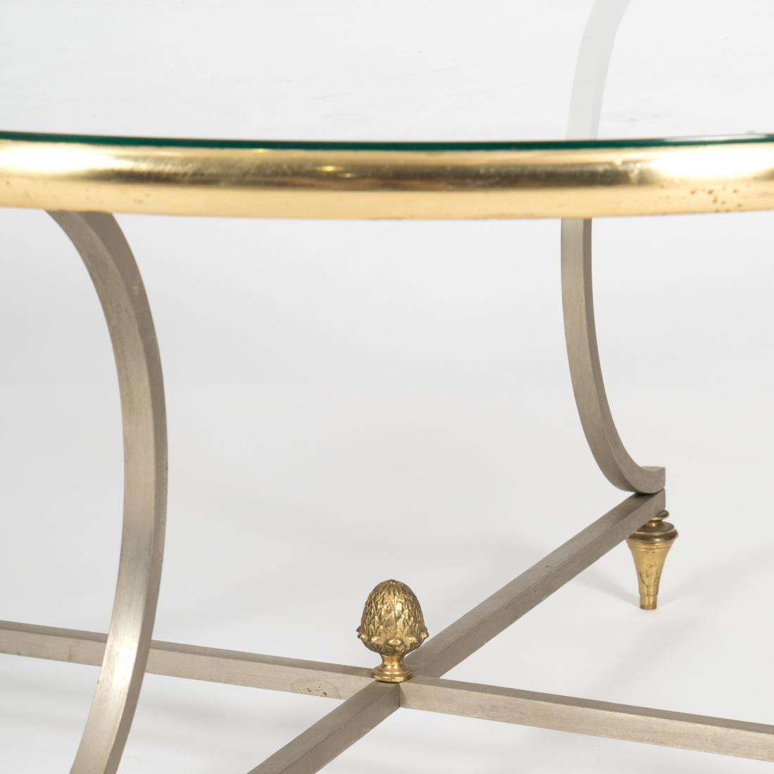 Steel, Brass and Glass Cocktail Table - 2