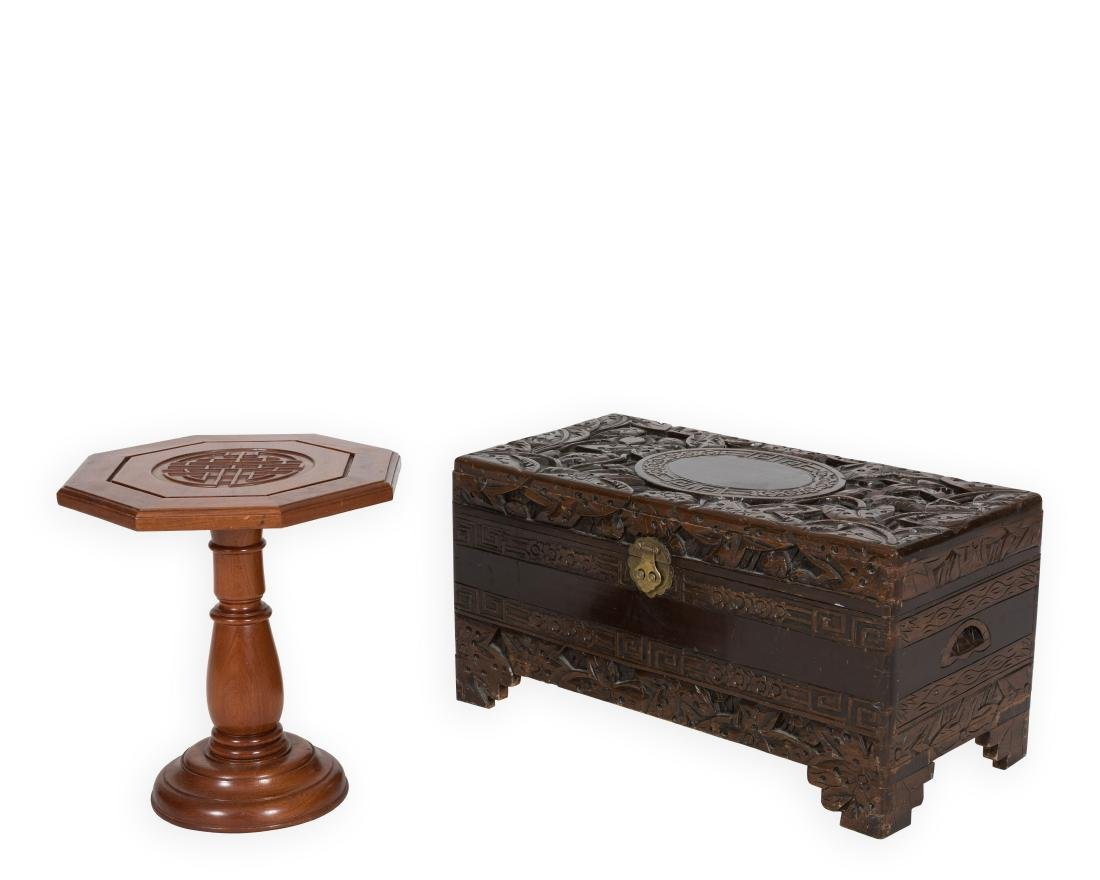 Carved Chinese Chest and End Table