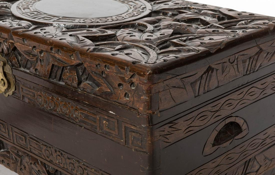 Carved Chinese Chest and End Table - 2