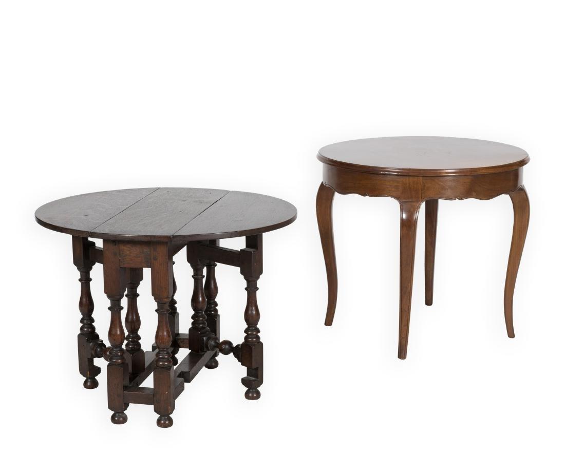 Jacobean Drop Leaf Table and Italian Table