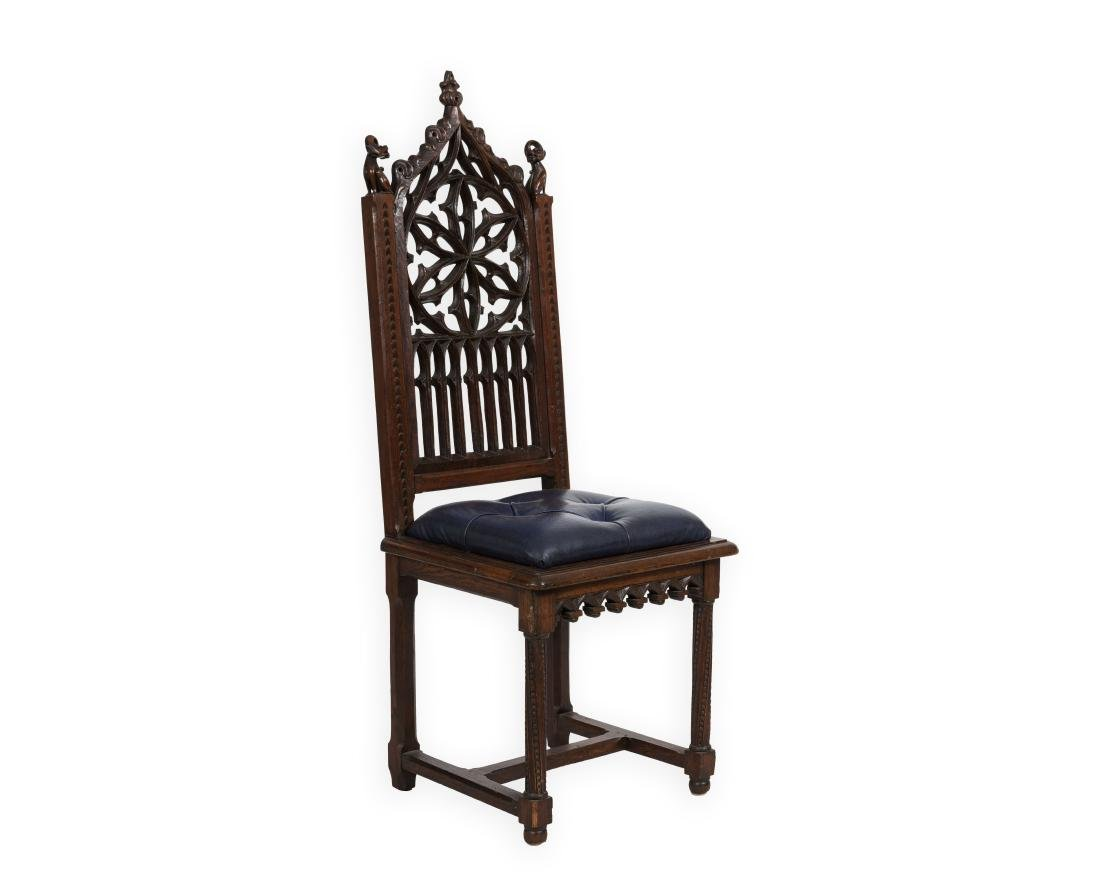 Carved Oak Gothic Chair