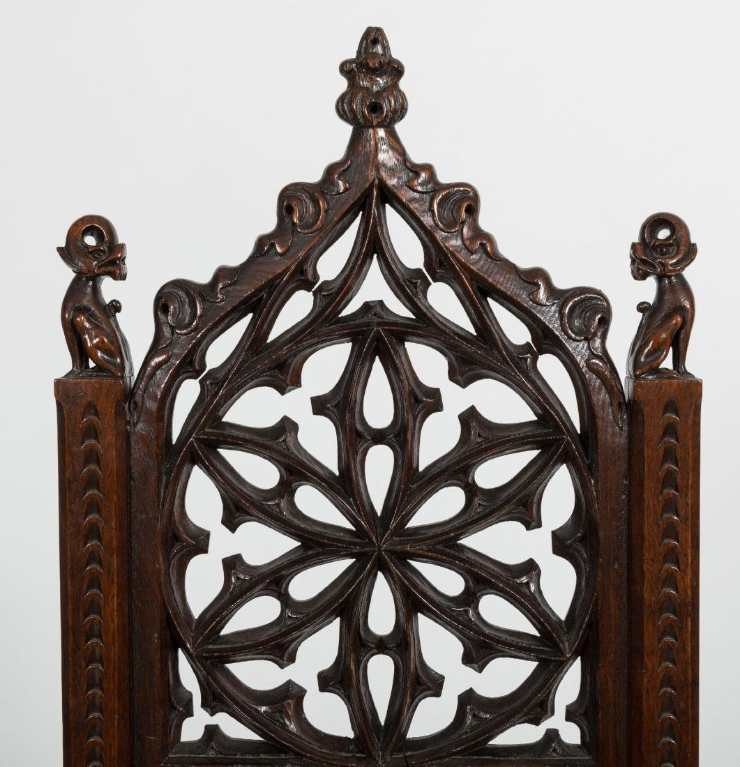 Carved Oak Gothic Chair - 2