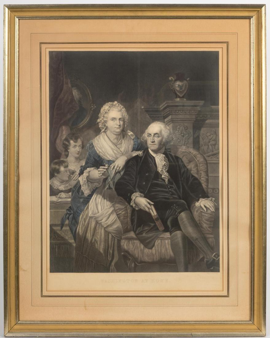 "Hand Color Engraving - ""George Washington at Home"""