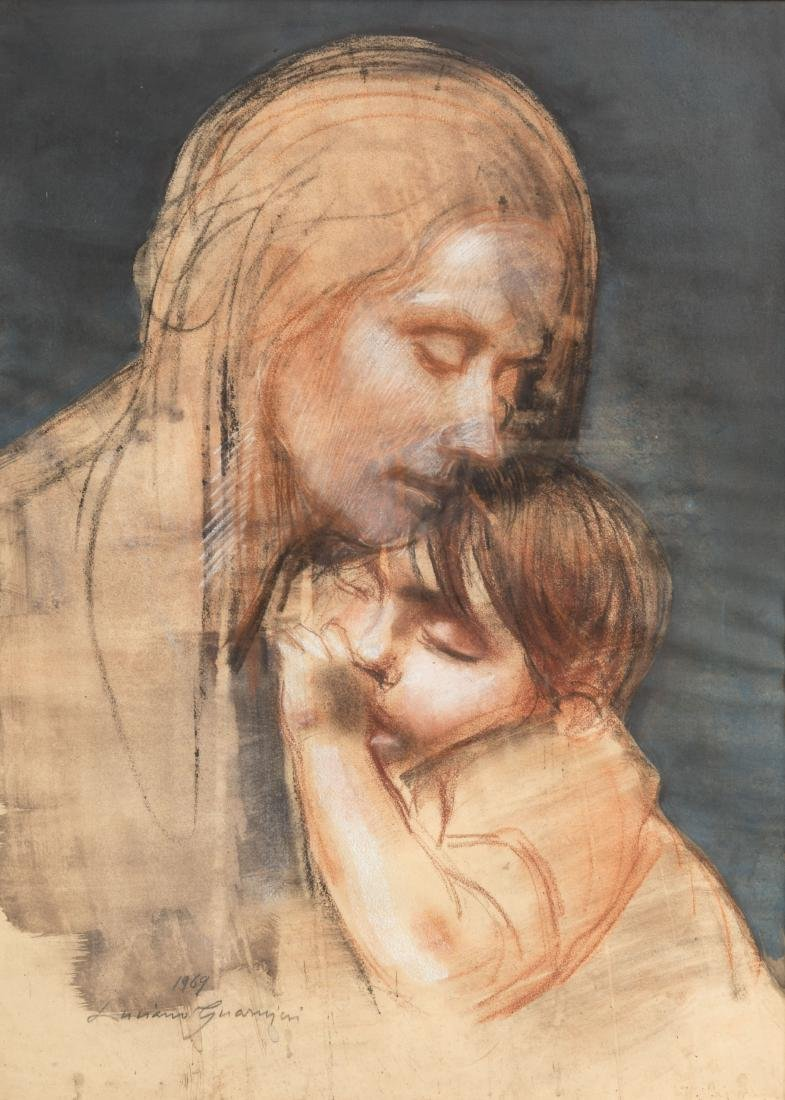 Luciano Guarnieri - Charcoal and Pastel - Signed - 2
