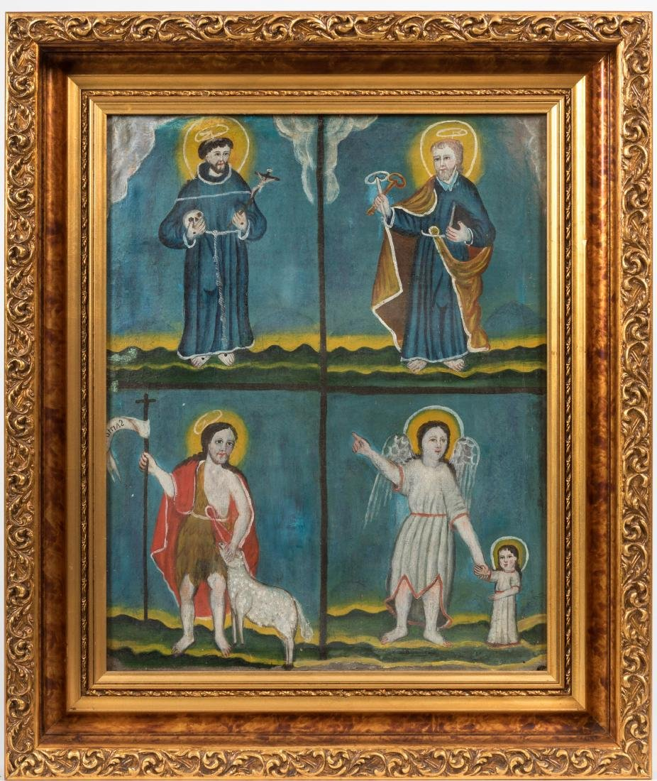 19th C Icon - Oil on Canvas