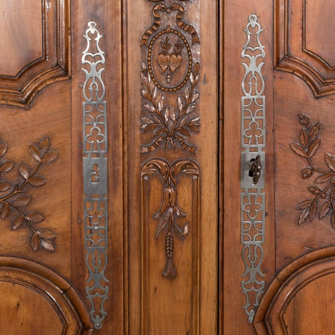 French Provincial Carved Walnut Armoire - 5