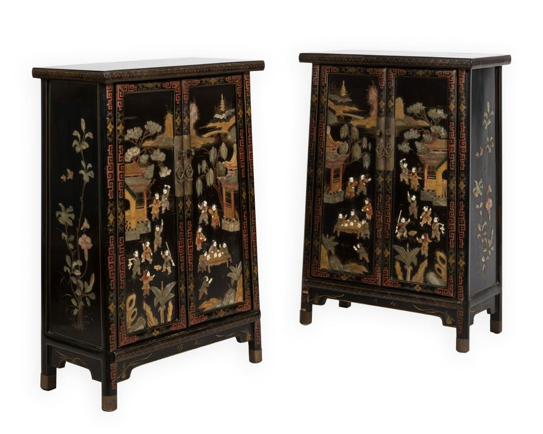 Pair Tapered Chinese LAcquer Cabinets