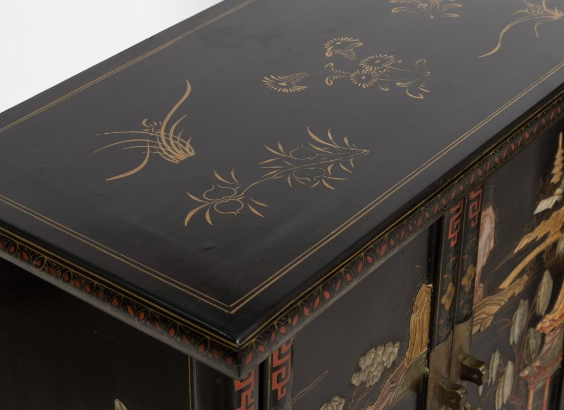 Pair Tapered Chinese LAcquer Cabinets - 4