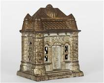 Polychrome Cast Iron Four Tower Still Bank