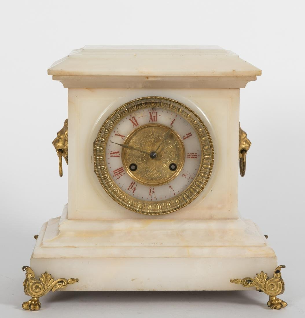 French Onyx and Bronze Mantle Clock