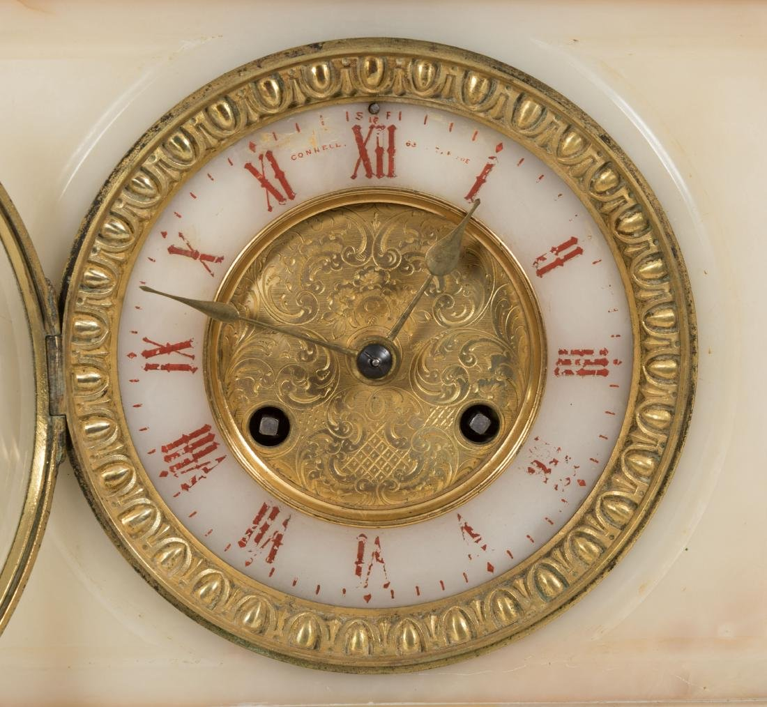 French Onyx and Bronze Mantle Clock - 2