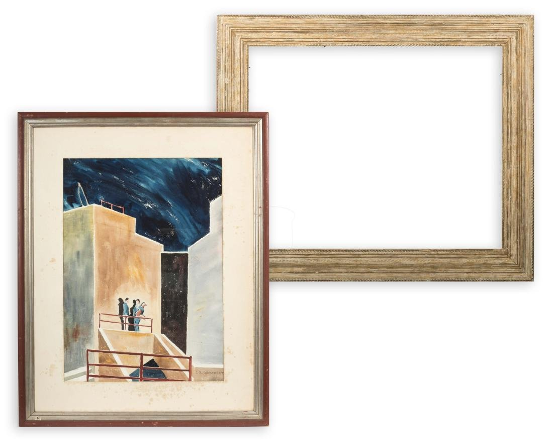 Charlotte D. Schroeder Watercolor and Frame