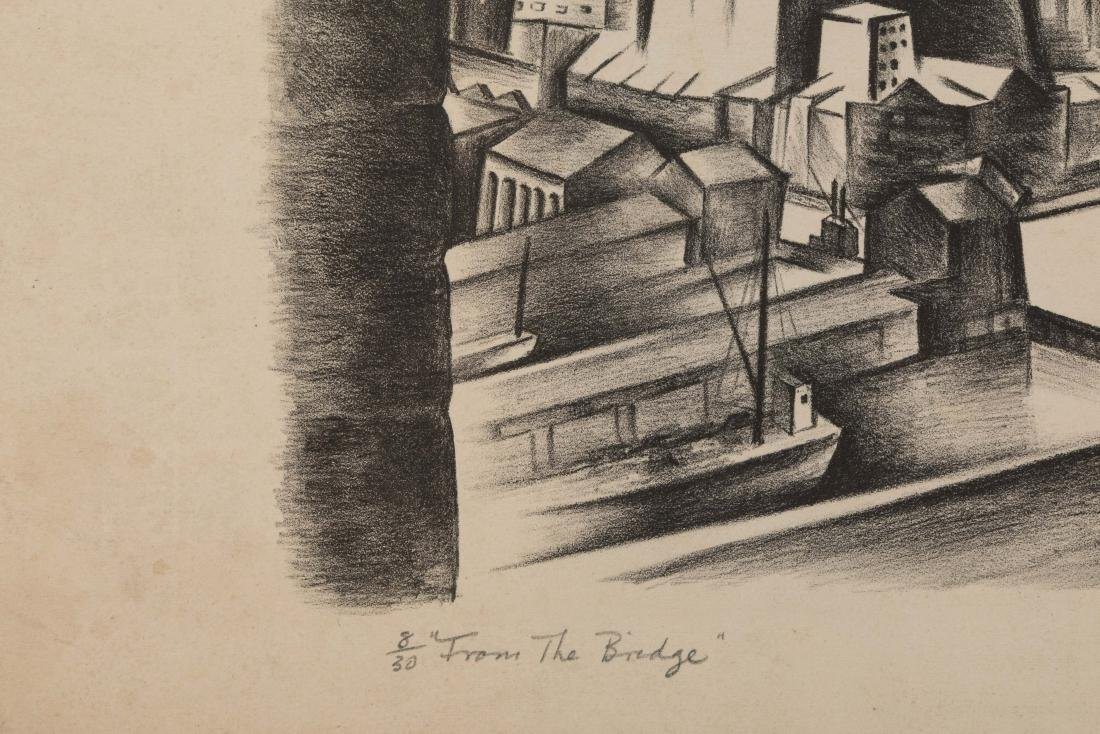 Ryah Ludins - Lithograph - From the Bridge - 2
