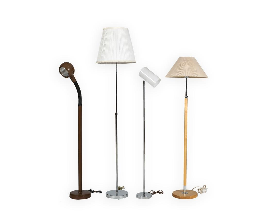 Four Mid Century Floor Lamps