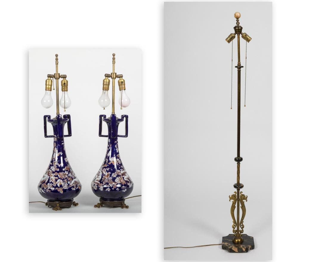 Pair Cobalt Faience Lamps and Floor Lamp