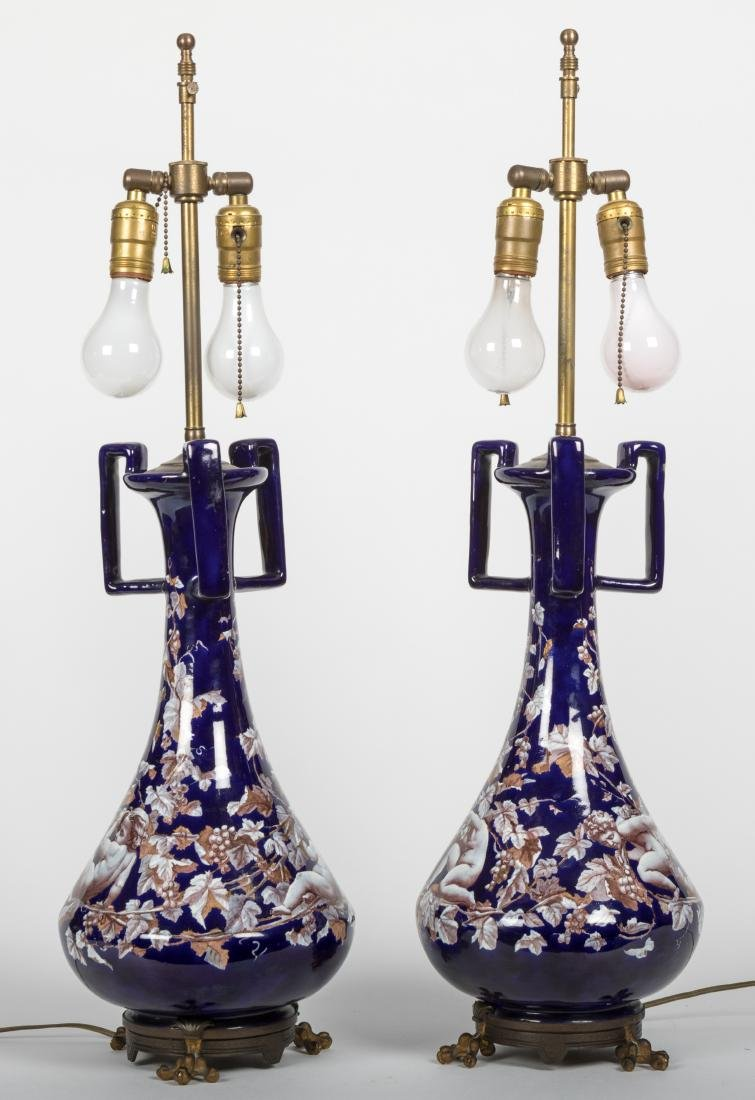 Pair Cobalt Faience Lamps and Floor Lamp - 2