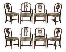 Eight Hepplewhite Style Inlaid Chairs