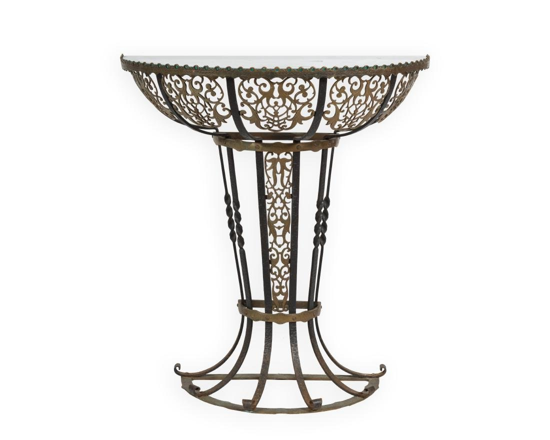 Art Deco Iron Demilune Table