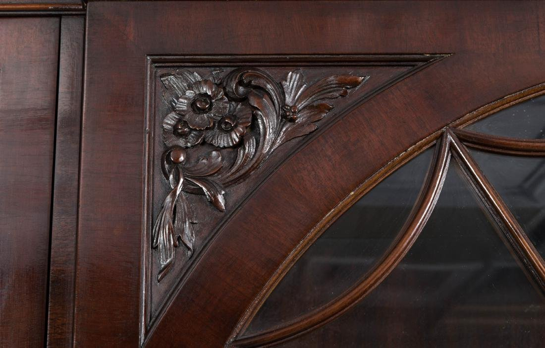 Two Part Carved Mahogany Breakfront - 4