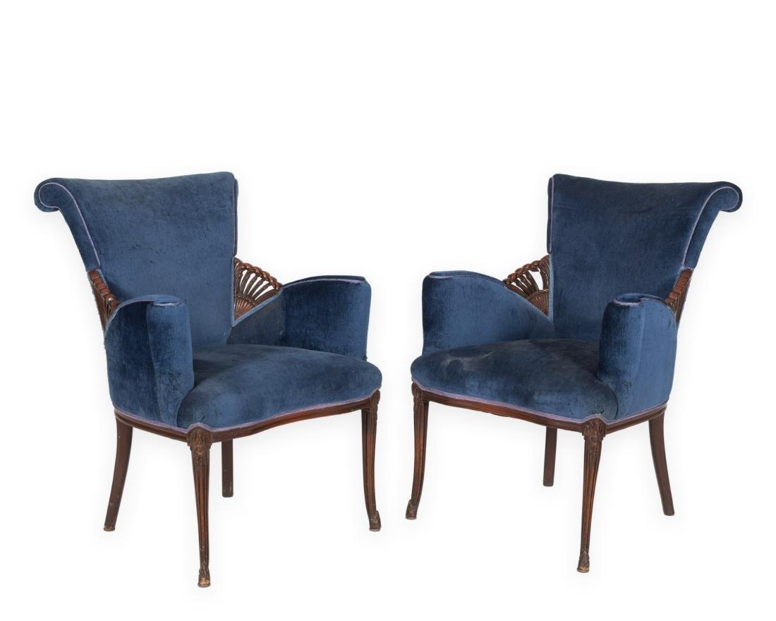 Pair Mahogany Fireside Chairs