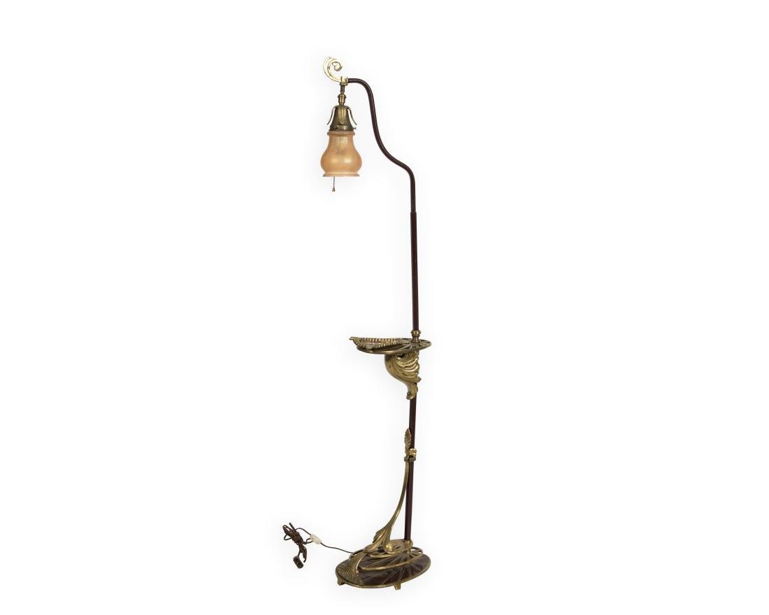 Art Deco Brass and Iron Floor Lamp