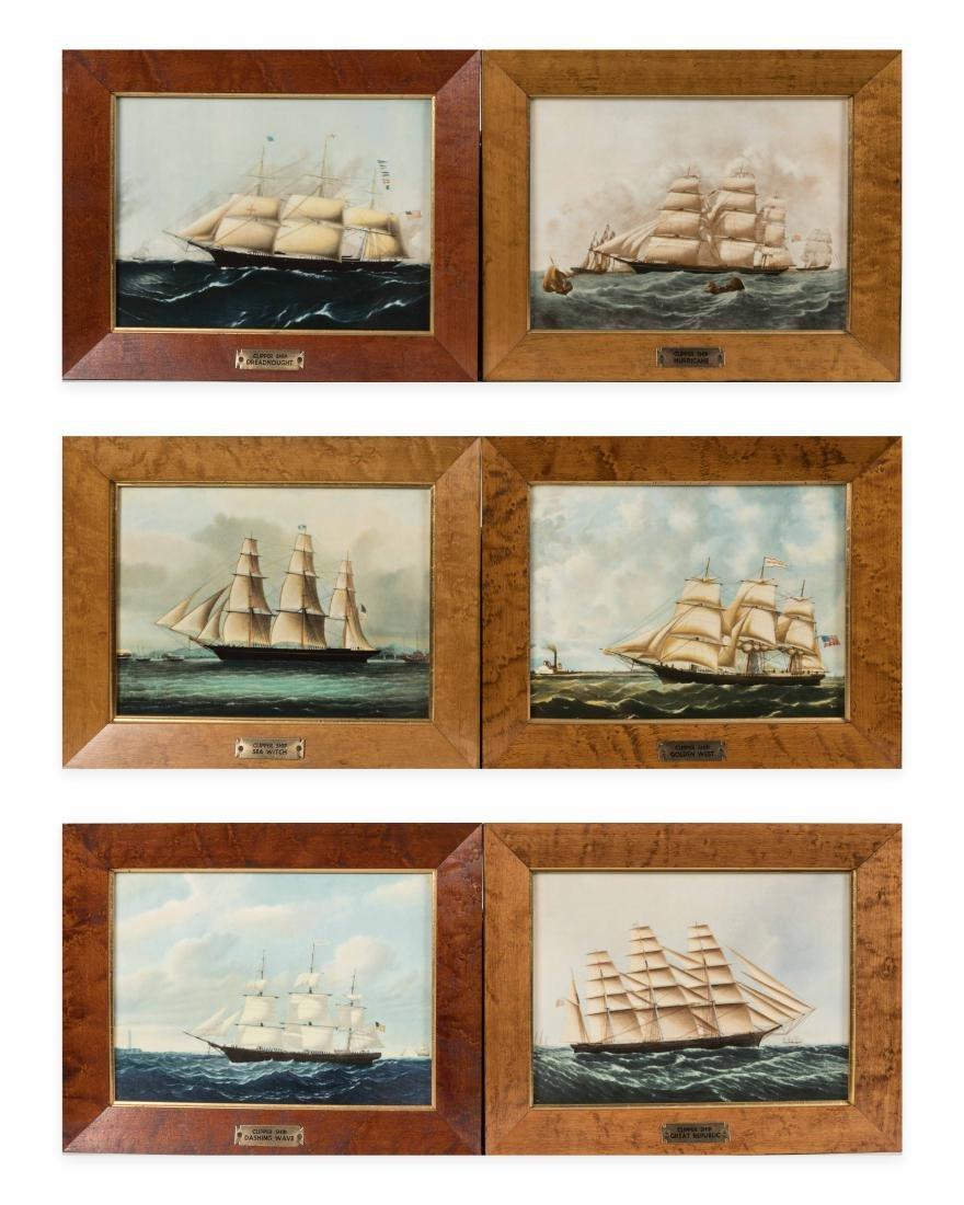 Six Wedgewood Ship Tiles in Birdseye Frames