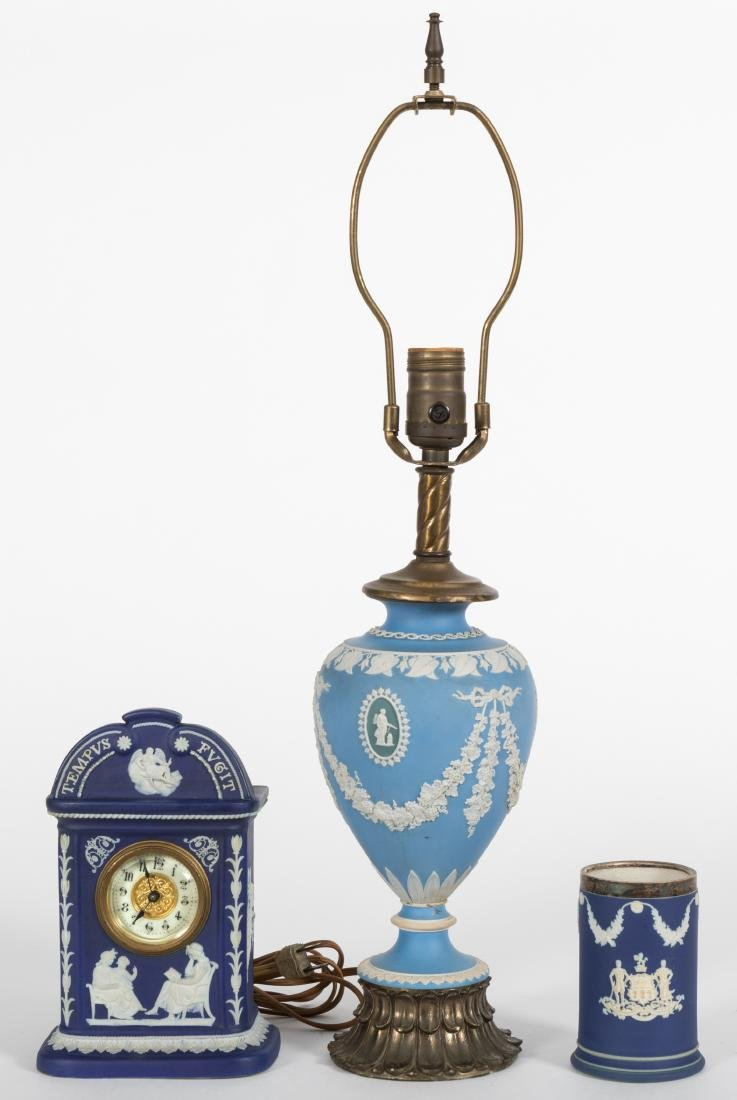 Wedgewood Lamp, Clock and Pen Holder