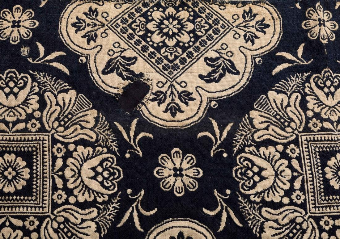 19th C Navy and Ivory Coverlet - 1852 - 2