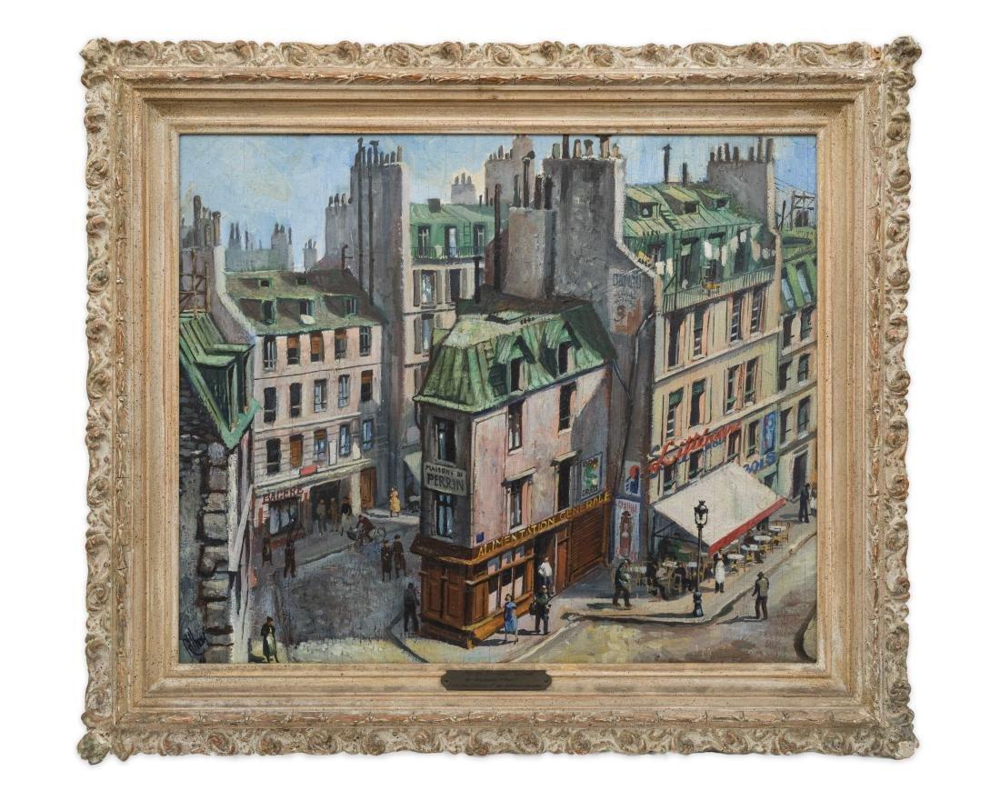 Richard Whorf - Oil on Board - Parisian Street