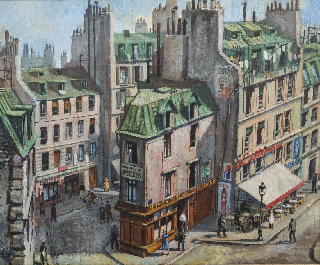 Richard Whorf - Oil on Board - Parisian Street - 2