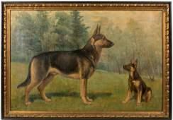 Large Oil on Canvas  German Shepherds