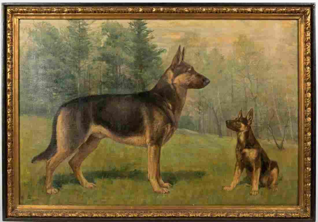Large Oil on Canvas - German Shepherds