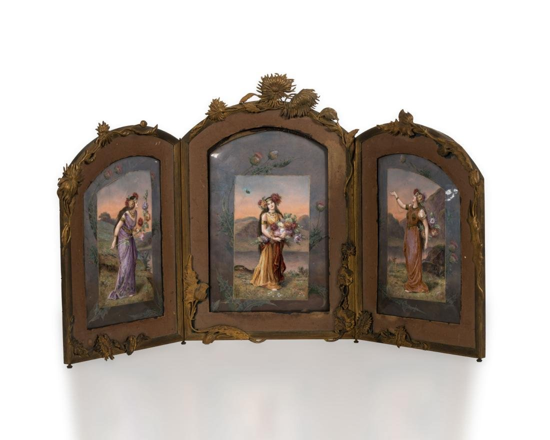 Triptych Enameled Plaque